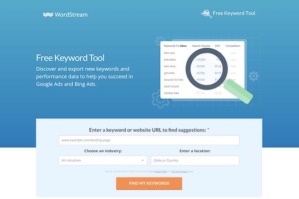 Wordstream's Keyword Tool Best Free Keyword Research Tool